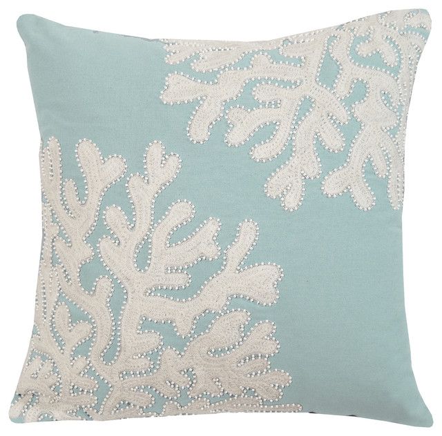 Embroidered And Beaded Coral Pillow-Seafoam.
