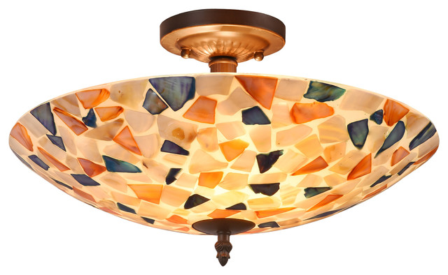 Koi Mosaic 2-Light Semi-Flush Ceiling Fixture 16.