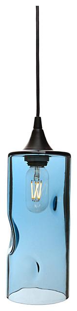 Lucent Pendant Light No. 517, Steel Blue, Matte Black.