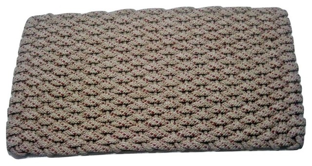 "Rockport Rope Door Mat, 20""x30"", Tan With 2 Rose Specs And Tan Insert."