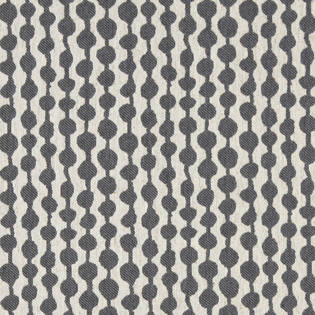 Grey And Off White Circle Striped Linen Look Upholstery Fabric By The Yard