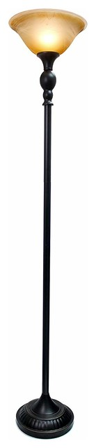 1-Light Torchiere Floor Lamp, Marbelized Amber Glass Shade, Restoration Bronze