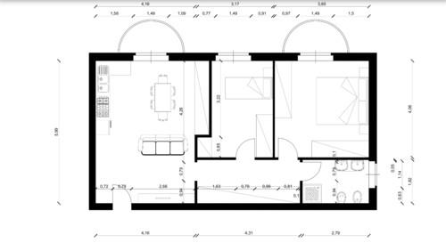 Progetto cucina soggiorno 25 mq