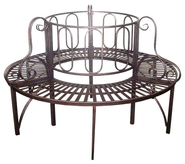 Roundabout Architectural Steel Garden Bench Traditional Outdoor Benches