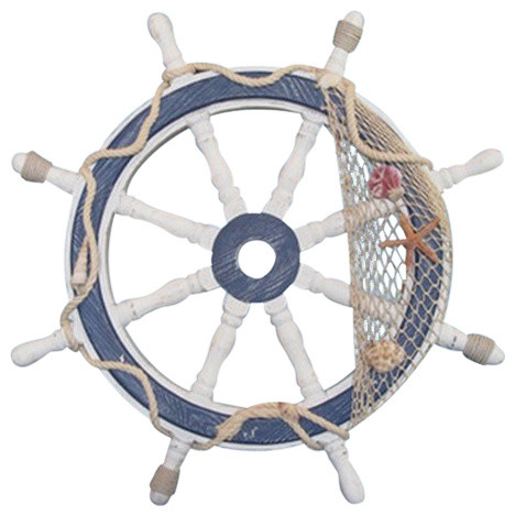 """24"""" Distressed White And Blue Wood Ship Wheel."""