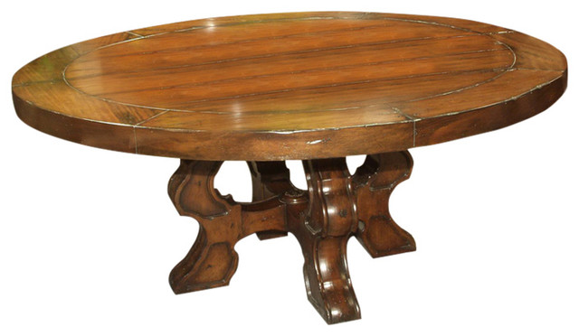 """jwlc - monterey 72"""" round dining table with chestnut finish"""