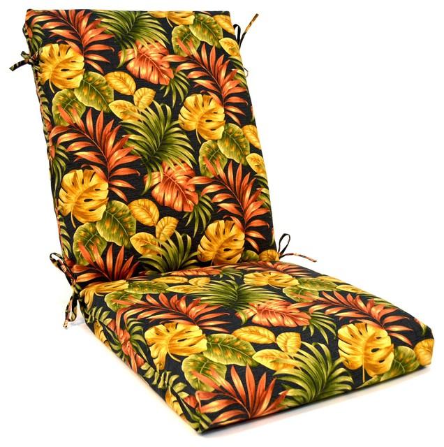 2 Pack - Tropical Floral High Back Chair Cushion, Black Tropical.