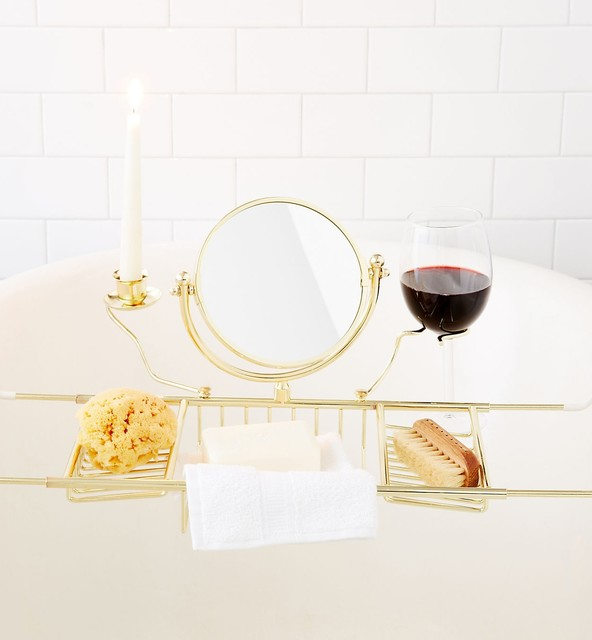 Ultimate Bathtub Caddy w/Book Rack, Wine & Candle Holders Mirror (Brass Finish)