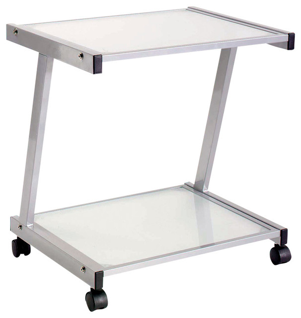L Shaped Glass U0026 Metal Printer Cart Contemporary Office Carts And Stands