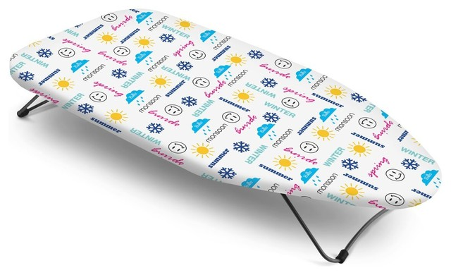 Bonita Mini Table Top Ironing Board, Seasons Text.