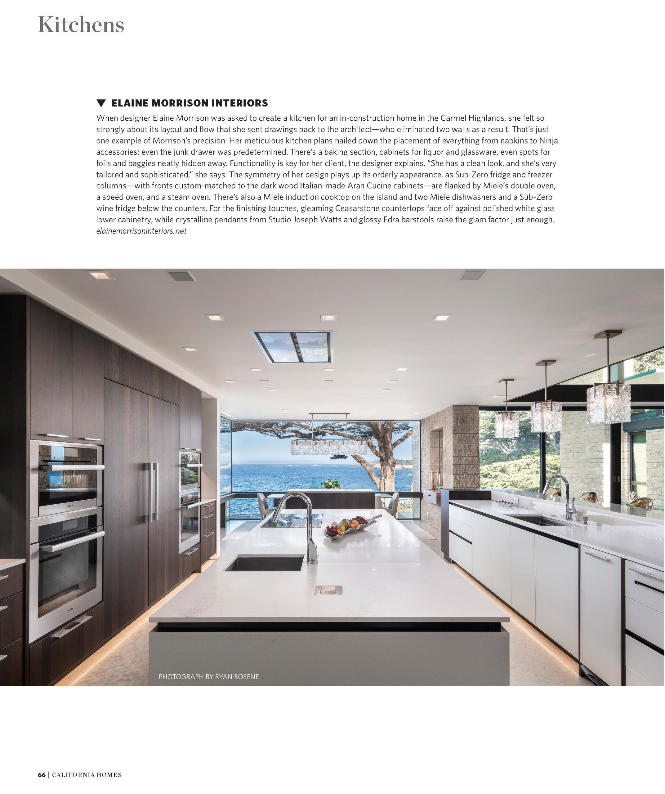 My Contemporary Kitchen Designed for a Majestic New Home in Carmel Highlands, Ca