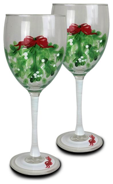 Mistletoe Wine, Set of 2