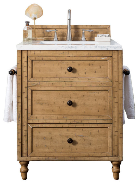 "Copper Cove Driftwood Patina Single Vanity, Arctic Fall Solid Surface Top, 26""."