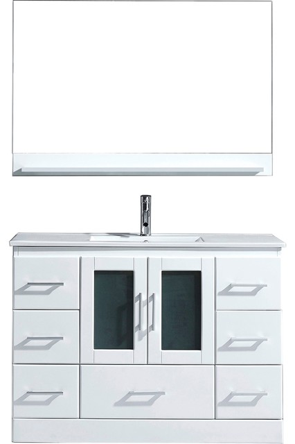 """Lund Vanity, White With Polished Chrome Faucet And Mirror, 48""""."""