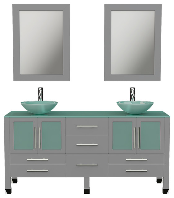 63 Gray Double Vessel Sink Bathroom Vanity With Tempered Glass Top And Sinks Contemporary Bathroom Vanities And Sink Consoles By The Tub Connection