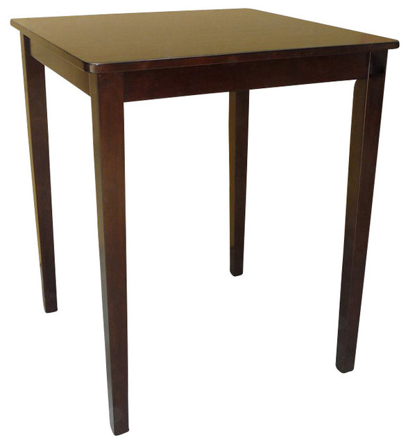 Square Shaker Style Counter Height Table, Rich Mocha.