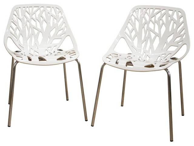 Birch Sapling White Plastic Accent Dining Chair Set Of