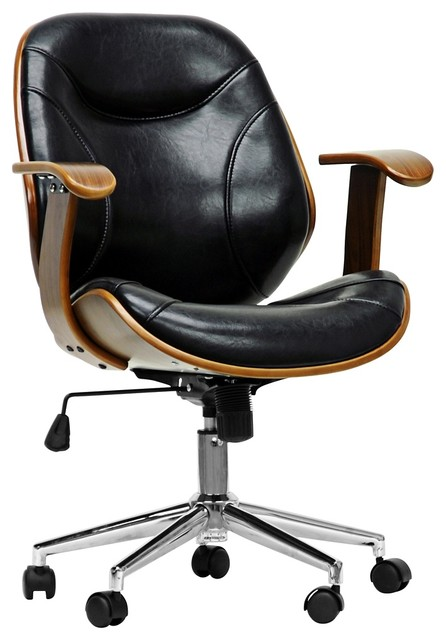 Baxton Studio Rathburn Walnut and Black Modern Office Chair midcentury- office-chairs