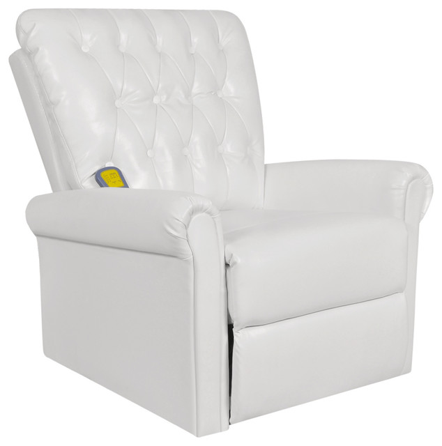 VidaXL White Electric Artificial Leather Recliner Massage Chair  Contemporary Massage Chairs
