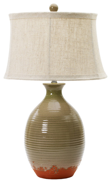 28 Quot Ceramic Table Lamp In Bay Leaf Crackle Farmhouse
