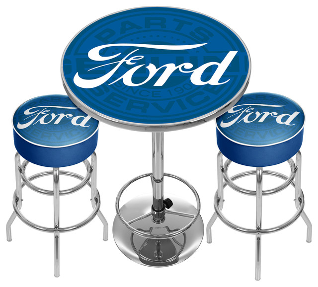 Room And Board Bar Stools: Ford Genuine Parts Game Room Combo, 2 Bar Stools And Table