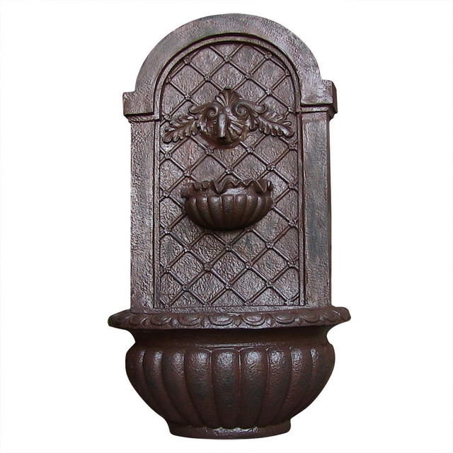 Mediterranean Exterior Of Home With Pathway Fountain: Venetian Outdoor Wall Fountain, Iron Finish