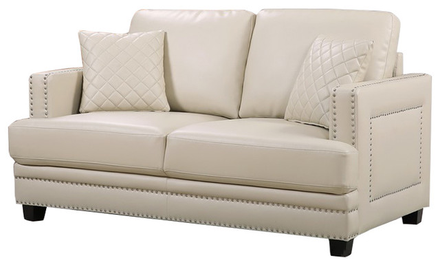 Ferrara Remy Leather Love Seat, Beige.
