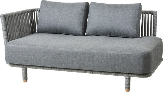 Moments 2 Seater Sofa Module - Gray, Antique-Line Rope, Left