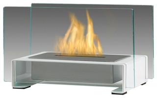 Eco-Feu Toulouse, Tabletop Ethanol Fireplace, Gloss White, TT-00141-GW