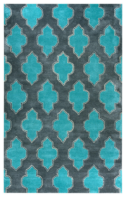 Fusion Blue Teal Colored Woolen Area Rug 5 X8 Mediterranean