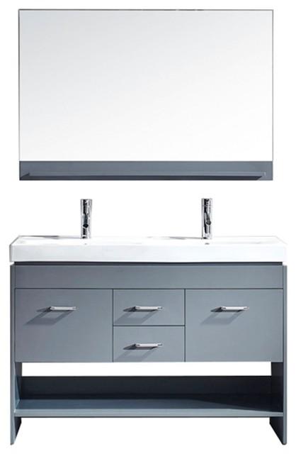 "Virtu Usa Gloria 48"" Double Bathroom Vanity With White Ceramic Top, Gray."