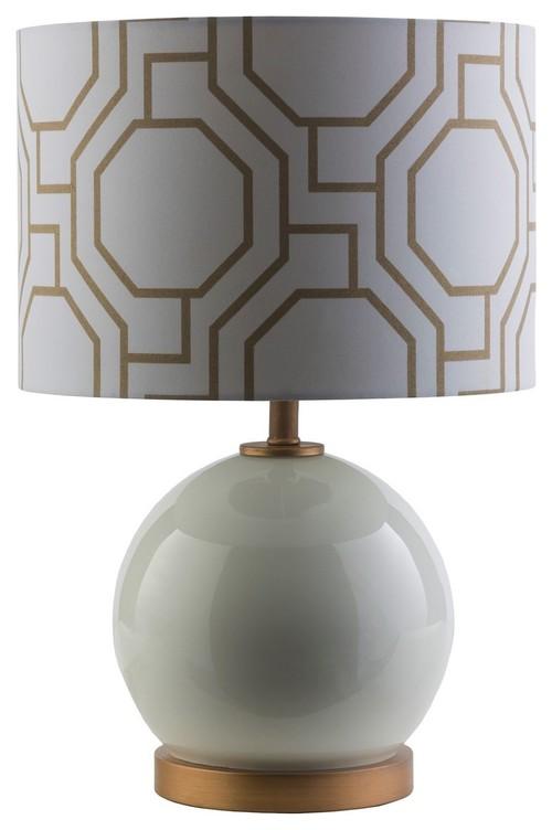 "Bowen Drum Lightingtable Lamp, White, Drum 0'13""x0'13"""