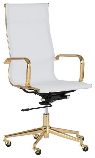 Adelina Office Chair Gold White, White And Gold Office Chair High Back