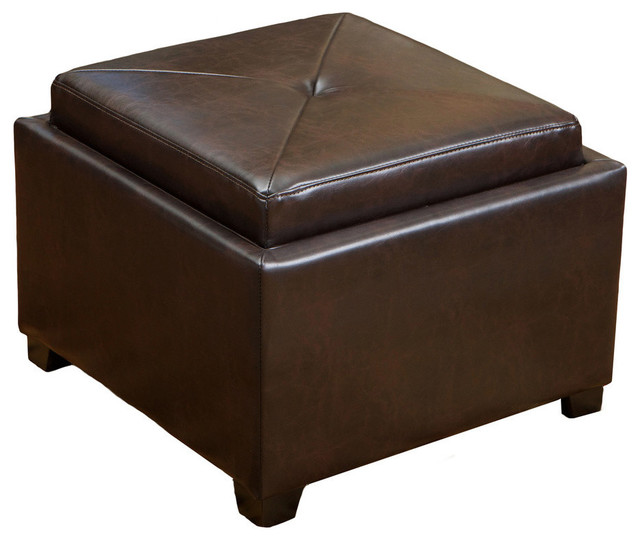 Fantastic Gdf Studio Durban Tray Top Storage Brown Leather Ottoman Coffee Table Machost Co Dining Chair Design Ideas Machostcouk