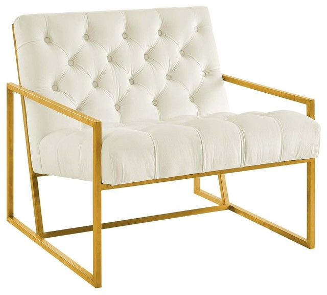 Sensational Modway Bequest Chair Ivory Finish Velvet Creativecarmelina Interior Chair Design Creativecarmelinacom