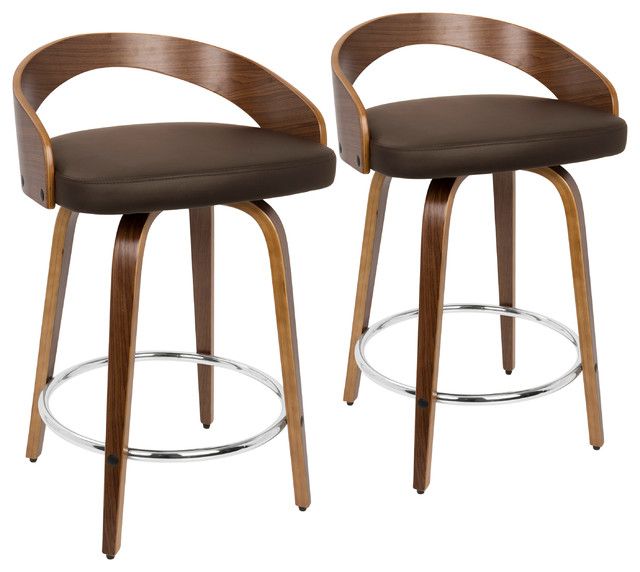 Grotto Counter Stools With Swivels, Set of 2, Walnut Wood, Brown Pu, Chrome