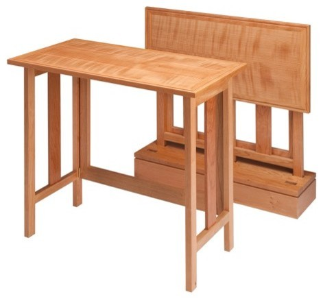 Set Of 2 Curly Cherry Metro Tray Tables With Base.