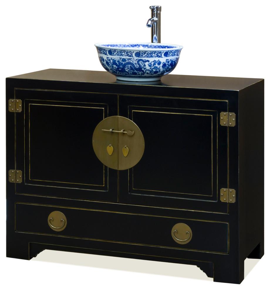 Chinese Ming Style Black Cabinet, Oriental Bathroom Vanity