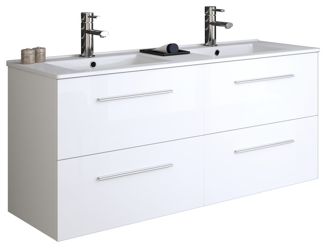 48 4-Drawers White Wall Mounted Modern Bathroom Vanity With Double Basin.