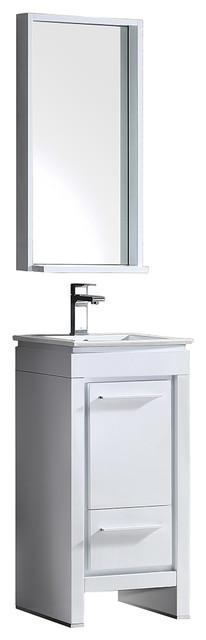 Fresca Allier 16 White Modern Bathroom Vanity With Mirror.