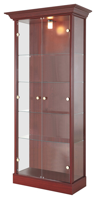 Double Door Display Cabinet With 4 Shelves And Light