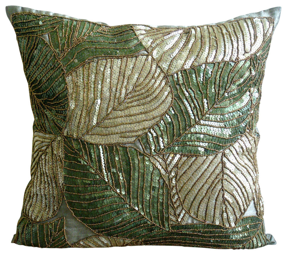 Green Sequins And Beaded Silk Pillows Cover Green Camoflague Tropical Decorative Pillows By The Homecentric