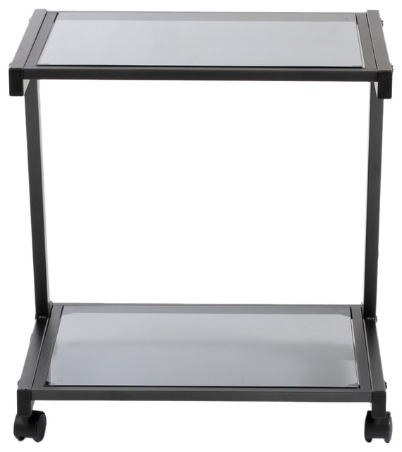 Eurostyle Landon Graphite Black/smoked Glass Printer Cart.