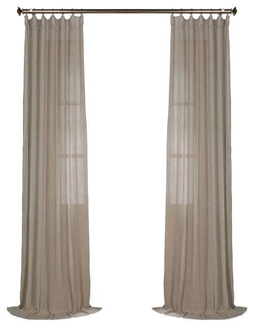"Paris Gray Solid Fauxlinen Sheer Curtain Single Panel, 50""x108""."