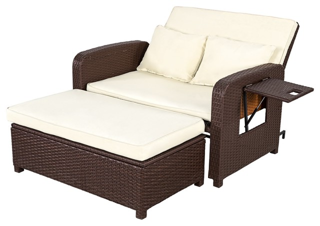 Surprising 2 Piece Patio Outdoor Wicker Rattan Love Seat Sofa Daybed Set With Ottoman Alphanode Cool Chair Designs And Ideas Alphanodeonline