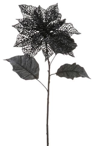 Silk Plants Direct Glittered Mesh Poinsettia Pack Of 12
