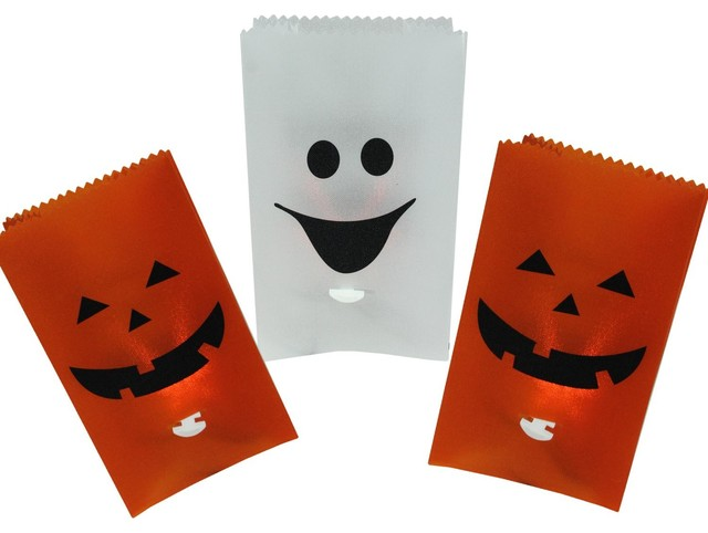 Set Of 3 Flickering Light Pumpkin And Ghost Halloween Luminary Pathway Markers.