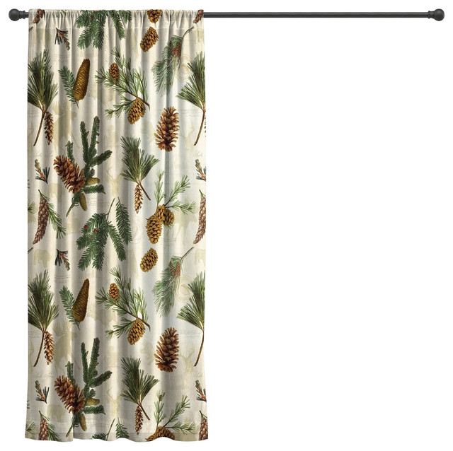 "Laural Home Pinecone Sheer Window Curtain, 84""."