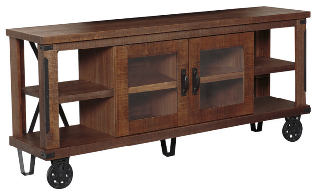 Industrial Collection 73 Wide Tv Console With Glass Doors