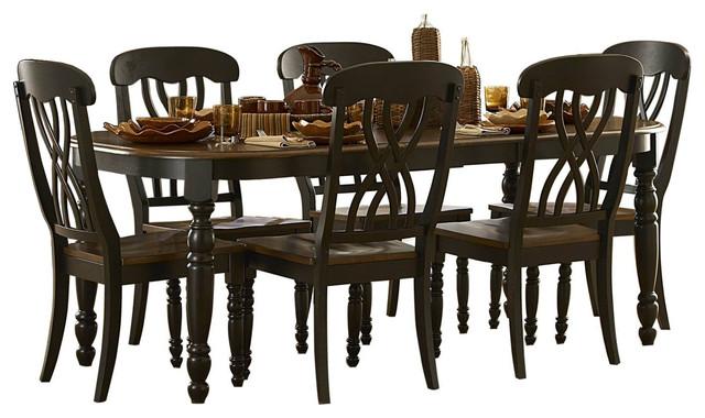 Homelegance Ohana 7 Piece Dining Table Set, Cherry And Black